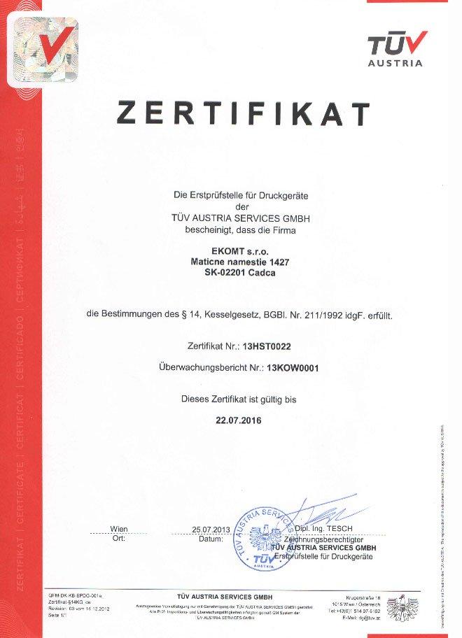 Certifikát pre montáž tlakových zariadení - TUV Austria