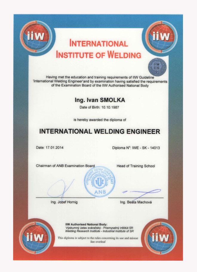 Certifikát IWE
