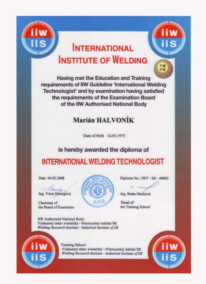 Certifikát IWT
