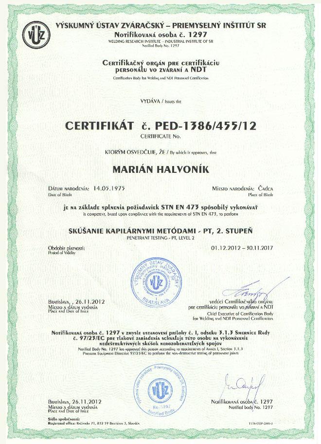 Certifikovaná osoba v NDT metóda PT2 - 97/23/EC