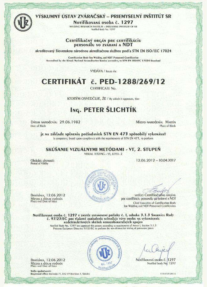 Certifikovaná osoba v NDT metóda VT2 - 97/23/EC