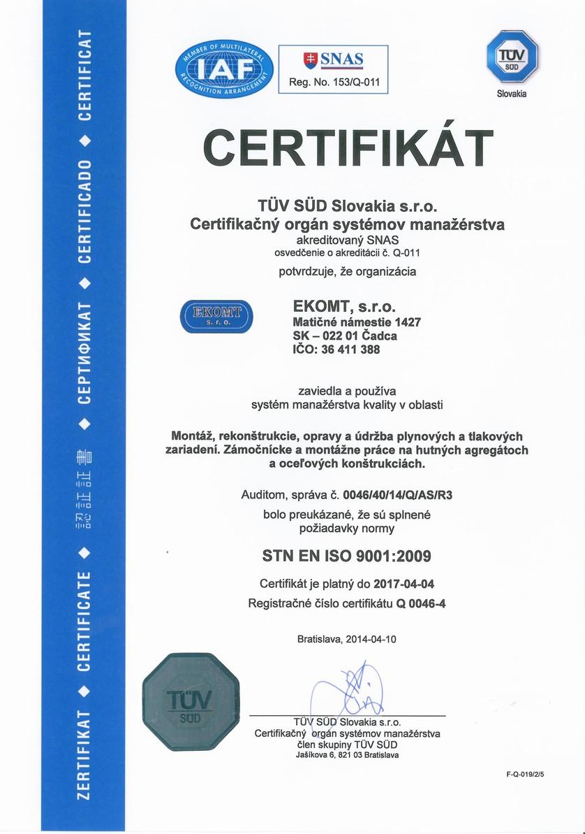 Systém manažérstva kvality STN EN ISO 9001:2009