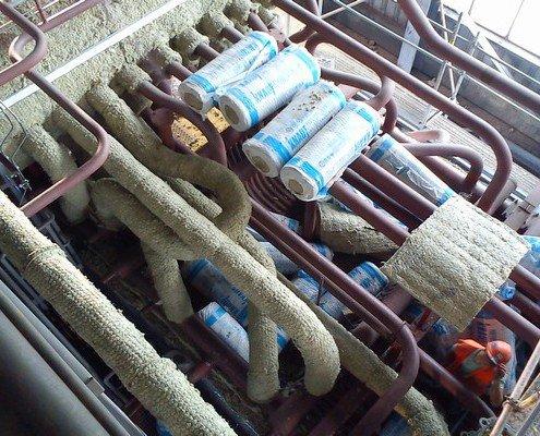 Izolácie na prevádzacom potrubí bubna