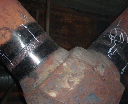 Zvary po NDT kontrole. Montáž ohyboc VT parovodu 324x48mm pre K2 655 t/hod.